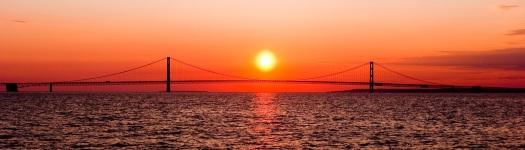Mackinac Bridge, Sunset, Scenic Image
